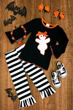 Black & White Stripe Ghost Ruffle Pant Set