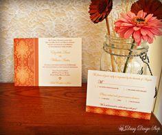 Wedding Invitation  Damask Border in Orange  by DaisyDesignShop, $2.25