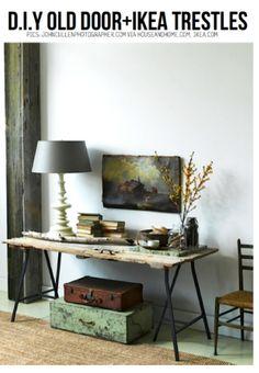 DIY old door + Ikea LERBERG TRESTLES