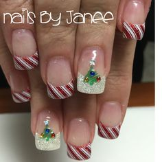 Candy cane and Christmas tree nails by Janee. A Wild Hair Salon, Reno, NV.