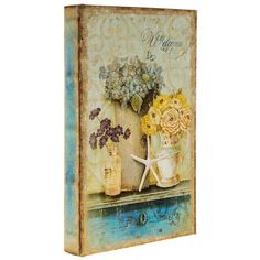 Take organization to a whole new level with this Seaside Lined Book Box! This fun book box features a vintage finish in shades of cream, brown, and blue and a p