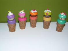 Polymer Clay, corchos para botellas de vino, cupcakes, fimo