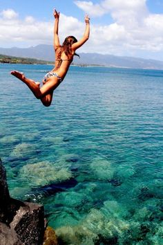 Cliff jumping in the islands