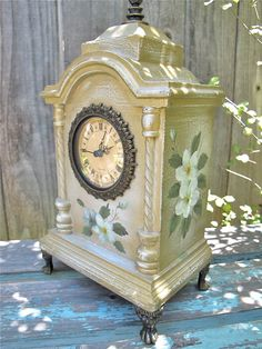 Vintage Shabby Chic Clock Hand Painted Mantle Clock Cottage Chic. $36.00, via Etsy.