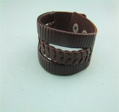Handmade nice black /brown braided unisex hiphop punk high fashion leather bracelet  engrave leather wrist cuff by littledandeliondream on Etsy