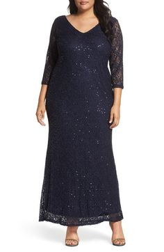 53063e42028 MARINA SEQUIN LACE A-LINE GOWN.  marina  cloth   A Line Gown