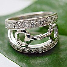 14k White Gold Snaffle Bit Ring with Diamonds - WOW / So unique!  www.Nicker.com