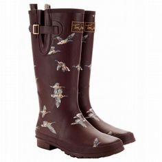 Joules Mulled Wine Women's Printed Welly Rain Boots