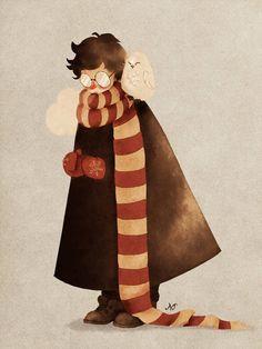 """Cold day"", Harry Potter fanart by Natello on Fans D'harry Potter, Arte Do Harry Potter, Harry Potter Artwork, Theme Harry Potter, Harry Potter Drawings, Harry Potter Anime, Harry Potter Pictures, Harry Potter Wallpaper, Harry Potter Universal"