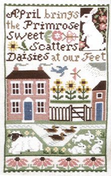 April - cross stitch pattern by The Prairie Schooler - April brings the primrose sweet,scatters daisies at our feet. Prairie School, Cross Stitch House, Embroidery Sampler, Cottage Art, Spring Projects, Sewing Art, May Flowers, Diy Christmas Ornaments, Crossstitch