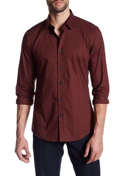 Image of Antony Morato Woven Slim Fit Dotted Shirt