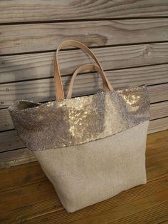 Grand sac cabas - tote bag réalisé en gros lin couleur naturel + bord en  sequins - doublé Toile de jouy - réversible - anse cuir - L Atelier éphémère f45297698a7