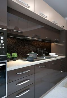 44 Fascinating Kitchen Glass Surfaces Design Ideas - Are you looking for a truly stunning finish to your top spec interior design project? Then look no further than bespoke glass surfaces. These decorati. Kitchen Room Design, Luxury Kitchen Design, Contemporary Kitchen Design, Kitchen Cabinet Design, Kitchen Sets, Interior Design Kitchen, Home Design, Kitchen Decor, Kitchen Furniture