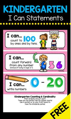 Kindergarten I Can Statements - Classroom Objectives and Goals FREEBIES Math Reading Language Science Social Studies Kindergarten Freebies, Kindergarten Lesson Plans, Kindergarten Learning, Kindergarten Common Core, Learning Activities, Kids Learning, Preschool Homework, Kindergarten Schedule, Teaching Ideas
