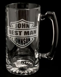 Custom Harley Davidson Logo Beer Mug - Groom, Best Man, Groomsman Father of the Bride / Groom. Engraved Wedding Party Gifts 24oz. Straight