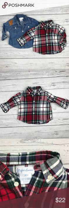 Polo Ralph Lauren (Set of 2) Button Down Shirts Excellent used condition. Red and green plaid, and denim chambray with a faux suede patch. Adorable and perfect for the holidays! Polo by Ralph Lauren Shirts & Tops Button Down Shirts