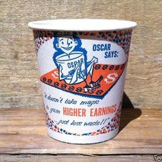 4 Vintage Original AMERICAN AIRLINES Paper Snack Sample Cup 1960s Unused Old NOS