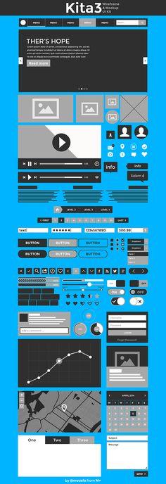 Kita3 : Wireframe & Mockup UI Kit