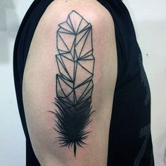 Unique Black Ink Feather Tattoo On Arms For Men