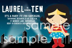 Super girl Birthday Party Invitation by missbellaexpressions,