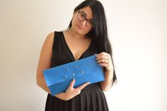 Blue clutchleather handbagstars clutchstars handbagblue