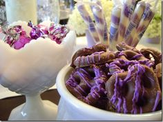 I will use white yogurt covered pretzels with the purple icing drizzled on them. I like the purple candies too.     Purple Party  - Purple food Princess Sophia the First Birthday Decoration Table Idea