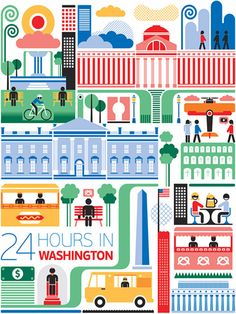 24 hours in Washington, USA is part of a series designed by Fernando Volken Togni for the Oryx Magazine, Qatar Airways. If you like this illustration check out India, South. Washington Art, Cities, Dc Travel, Travel Cards, Travel Illustration, Map Design, Graphic Design, City Art, Travel Posters