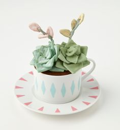 #SUCCULENT IN A TEACUP -such a lovely #succulent gift idea. BUT look closely its actually a fabric made #succulent idea. I will do the real thing but hey this is just lovely.