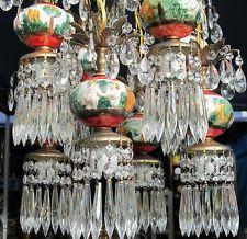 8 light Vintage Brass hanging Swag lamp chandelier porcelain capodimonte cherub