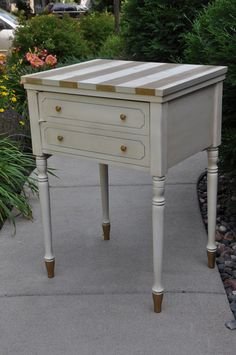 Fab stripes, love the gold rub n buff, and the paint dipped legs. To do on the tea cart? Old Sewing Tables, Sewing Machine Tables, Old Sewing Machines, Hand Painted Furniture, Refurbished Furniture, Repurposed Furniture, Furniture Makeover, Gold Dipped Furniture, Rub N Buff