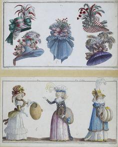 Em 1780, os pentados foram substituidos por chapéus elaborados . Em ambientes fechados usava-se toucas de vários estilos regionais. Os adeptos do estilo rústico optavam por chapéus de palha e coroa baixa decorados com fitas.