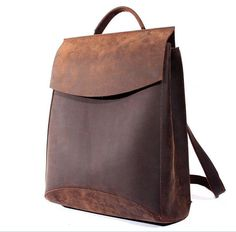 f4f40a5eae0f Vintage Casual Handmade Genuine Crazy Horse Leather Cowhide Men Women  Travel Backpack Shoulder Bag Bags Backpacks For Man