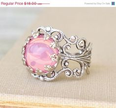 SALE Vintage Pink Opal Ring,Pink Glass Opal,STURDY Adjustable Silver Filigree Ring,Antique,Victorian,Shabby Chic,Opal Jewelry,Birthstone,Ke