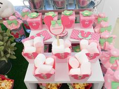 Minnie Mouse garden birthday party candy! See more party planning ideas at CatchMyParty.com!