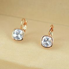 Earrings - Platinum or Rose Gold Plated, Austrian Crystal 18k Rose Gold, 18k Gold, Diamond Earrings, Stud Earrings, White Stone, Austrian Crystal, Rose Gold Plates, Crystals, Stuff To Buy