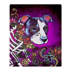 Dia los muertos dog, Pit bull Throw Blanket by - CafePress Sugar Skull Art, Sugar Skulls, Ed Hardy Tattoos, Dog Skull, Pit Bull Love, Pitbulls, Sketches, Blanket, Drawings