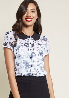 df3492e70e Hell Bunny Haunt for Nothing Button-Up Top in Festive. ModCloth. When it  comes to ...