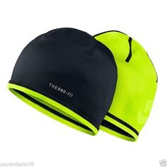 RUNNING NIKE BEANIE HAT REFLECTIVE DRI-FIT DRI-FIT BLACK NEON VOLT COLD WEATHER