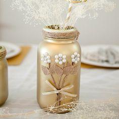 A personal favorite from my Etsy shop https://www.etsy.com/listing/469198843/gold-mason-jar-rustic-wedding-mason-jar