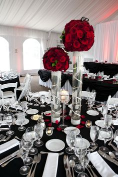 Red roses pop against a classic Black and White palette in the Lincolnshire Marriott Resort's Lakeside Pavilion #weddings #marriott Disney Centerpieces, Wedding Centerpieces, Wedding Decorations, Table Decorations, Centrepieces, Wedding Vows, Wedding Day, Party Wedding, Wedding Disney