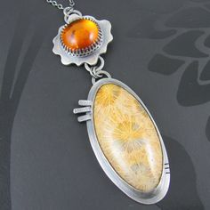 amber and fossilised coral necklace  sterling by NRjewellerydesign