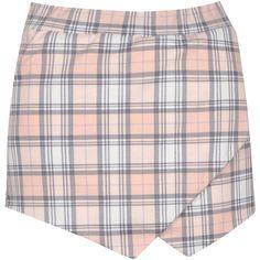 Boohoo Coco Pastel Tartan Ponte Skort (£19) ❤ liked on Polyvore featuring skirts, mini skirts, bottoms, shorts, skort, ponte knit skirt, tartan skirt, ponte skirt, plaid golf skirt and tartan plaid skirt