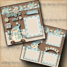 Winter Snow 2 premade scrapbook pages paper piecing printed layout by cherry Scrapbook Bebe, Christmas Scrapbook Layouts, Baby Scrapbook Pages, Papel Scrapbook, Baby Boy Scrapbook, Vintage Scrapbook, Scrapbook Journal, Scrapbook Designs, Scrapbook Sketches