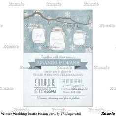 Winter Wedding Rustic Mason Jar and Snowflakes Card
