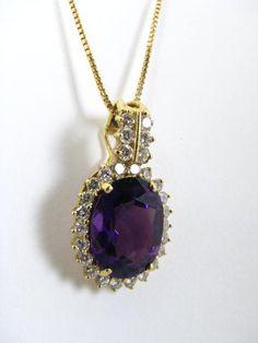 Honora 18k yellow gold diamond & amethyst pendant on an 18k yellow gold #Honora #wickliffauction