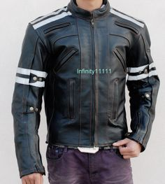 6e01400e02aa Motor Racing Biker Style Leather Jacket for Men Available in SMall to 5 XL  Black and