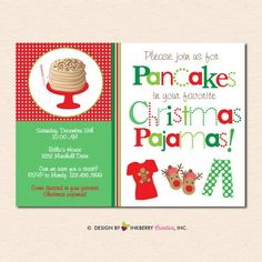 Items similar to Pancakes and Christmas Pajamas Holiday Party Invitation (Digital File - Printed Cards Also Available) on Etsy Cute Christmas Pajamas, Christmas Pajama Party, Christmas Fun, Arthur Christmas, Xmas Party, Beautiful Christmas, White Christmas, Holiday Fun, Holiday Ideas