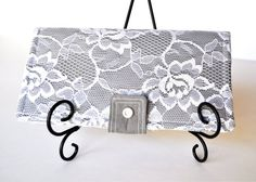 $30.00 My New Bifold Wallet with Snap and Zipper Pocket Grey Gray with White Lace