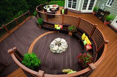 Seating on the outside of a raised deck.
