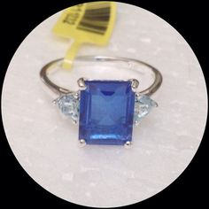 Beautiful Blue Quartz, Blue Topaz 4.30 CTs NEW Genuine Blue Quartz, Octogon 3.65 Ct, accented with Sky Blue Topaz on each side. Ring in .925 Sterling Silver Nickel Free (Size 8) TGW 4.30 Cts. Gorgeous clear blue stones. ⭐️ Open to offers Jewelry Rings